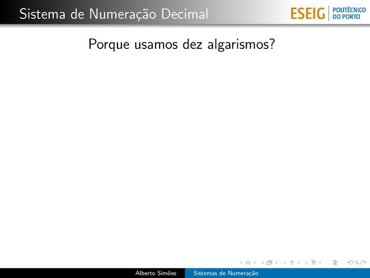 Sistemas de Numeração Slide 2