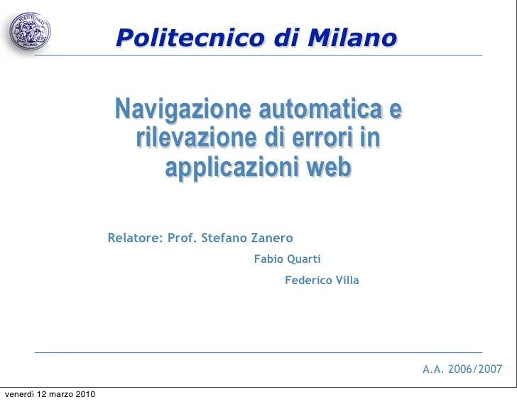 Politecnico di Milano                           Navigazione automatica e                           rilevazione di errori i...