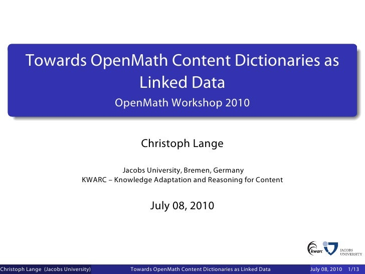 Towards OpenMath Content Dictionaries as                       Linked Data                                        OpenMath...