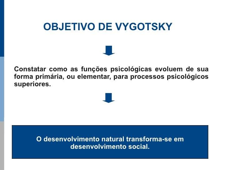OBJETIVO DE VYGOTSKY    Constatar como as funções psicológicas evoluem de sua forma primária, ou elementar, para processos...