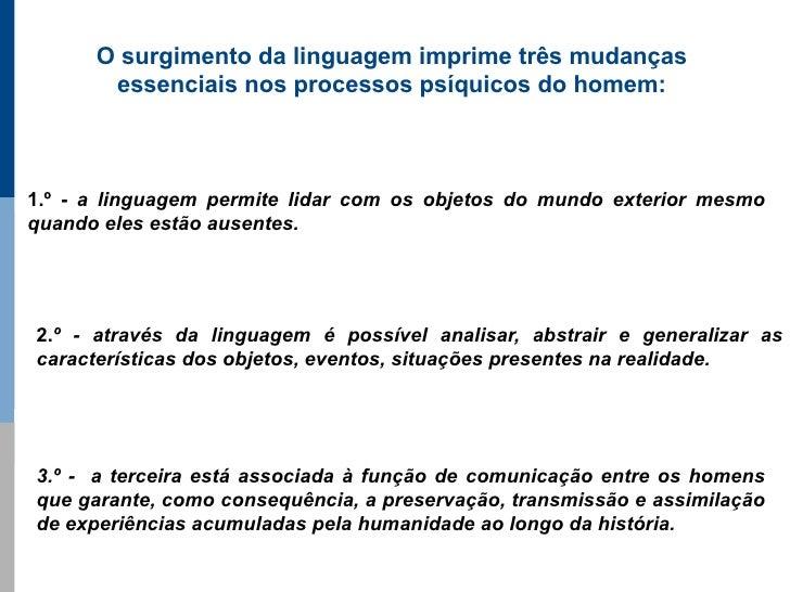 O surgimento da linguagem imprime três mudanças        essenciais nos processos psíquicos do homem:    1.º - a linguagem p...