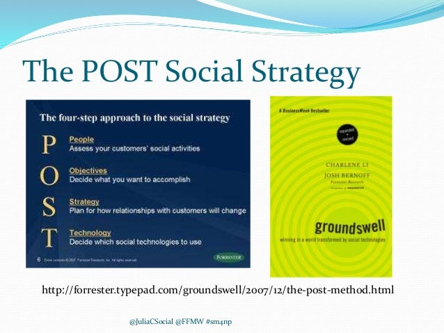 The POST Social Strategy @JuliaCSocial @FFMW #sm4np http://forrester.typepad.com/groundswell/2007/12/the-post-method.html