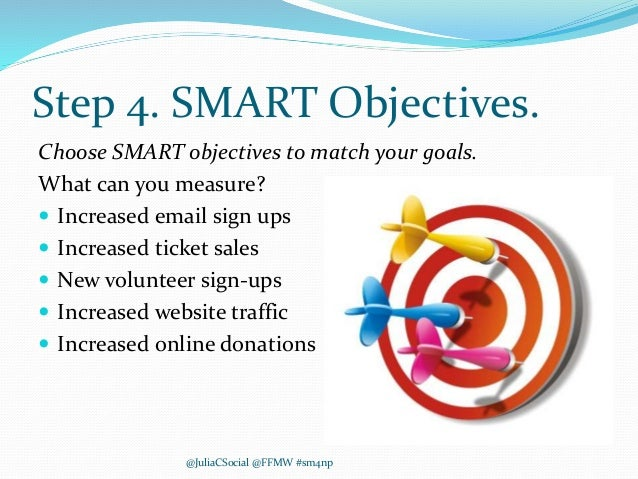Step 4. SMART Objectives. Choose SMART objectives to match your goals. What can you measure?  Increased email sign ups  ...