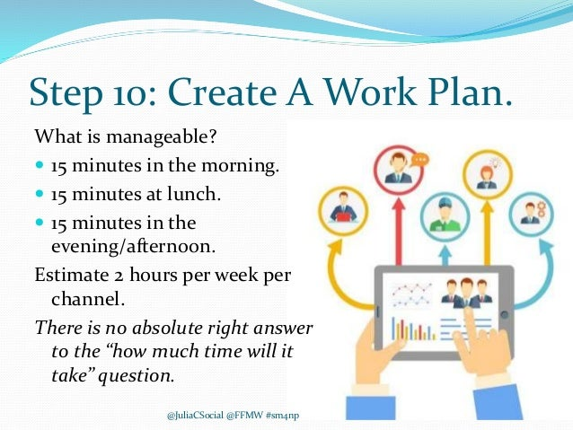 Step 10: Create A Work Plan. What is manageable?  15 minutes in the morning.  15 minutes at lunch.  15 minutes in the e...