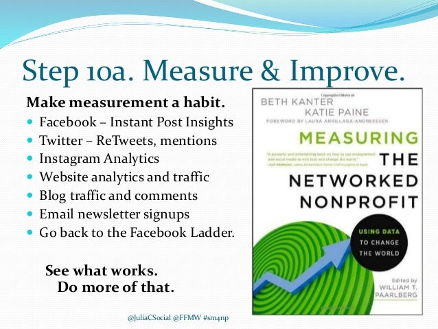 Step 10a. Measure & Improve. Make measurement a habit.  Facebook – Instant Post Insights  Twitter – ReTweets, mentions ...