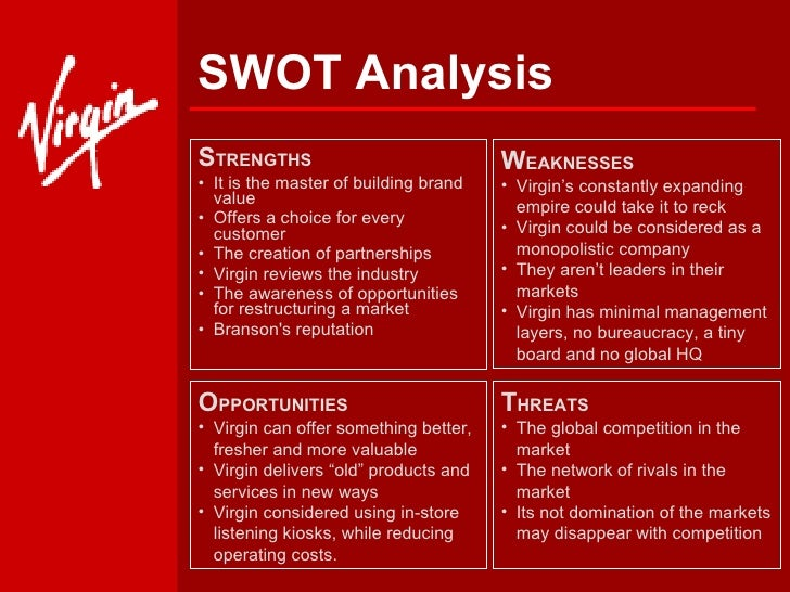 pest and swot analysis of virgin Comparative and strategic analysis of quantas and virgin blue qantas and virgin blue swot and pestle analysis in general swot analysis of qantas and virgin blue.