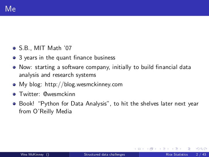 Structured Data Challenges in Finance and Statistics Slide 2