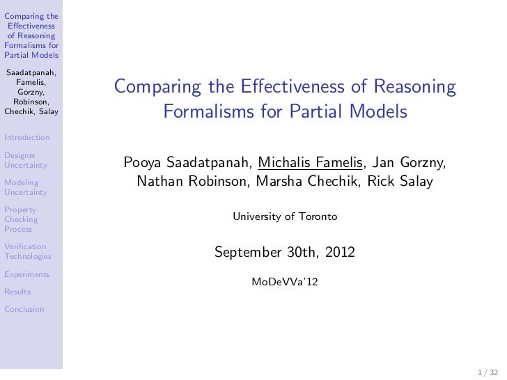 Comparing the Effectiveness of ReasoningFormalisms forPartial ModelsSaadatpanah,   Famelis,   Gorzny,       Comparing the E...