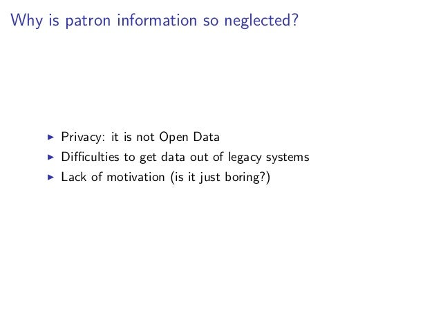 Motivation at GBV      Access to library patron information      for mobile apps and discovery interfaces      Primarily r...