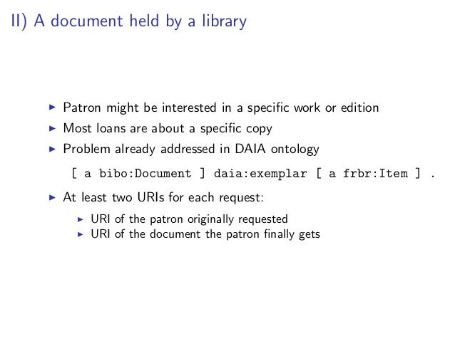 III) Current document status for loan or reservation   Relation between a particular document and a particular patron:   0...