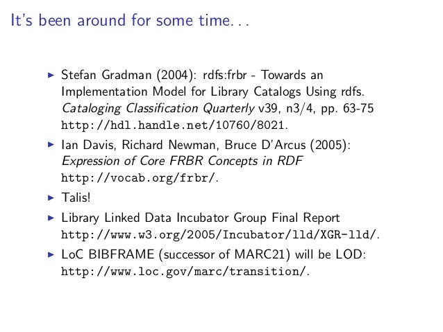 It's been around for some time. . .       Stefan Gradman (2004): rdfs:frbr - Towards an       Implementation Model for Lib...