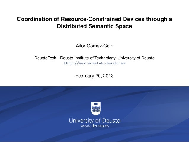 Coordination of Resource-Constrained Devices through a              Distributed Semantic Space                            ...