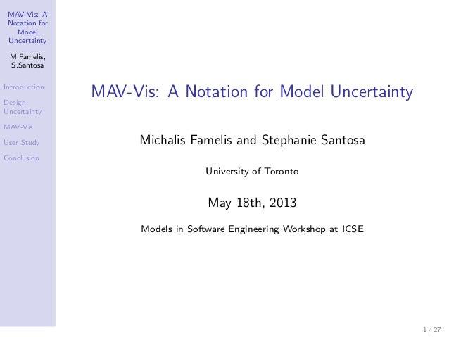 MAV-Vis: ANotation forModelUncertaintyM.Famelis,S.SantosaIntroductionDesignUncertaintyMAV-VisUser StudyConclusionMAV-Vis: ...