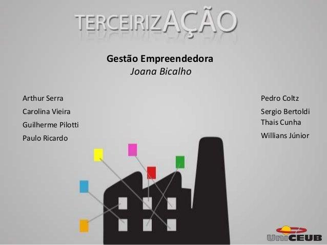 Gestão Empreendedora Joana Bicalho Carolina Vieira Guilherme Pilotti Pedro Coltz Thais Cunha Willians Júnior Arthur Serra ...