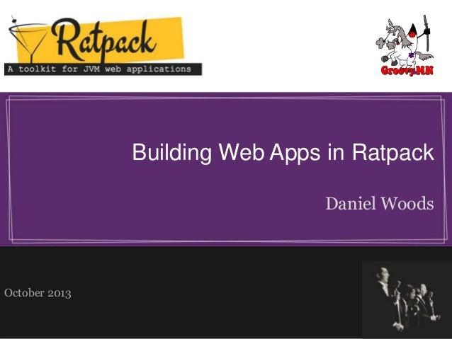 Building Web Apps in Ratpack Daniel Woods  October 2013
