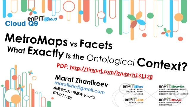 .  .  Ontology Context: Terminology and Definitions  M.Zhanikeev -- maratishe@gmail.com --  MetroMaps versus Facets: What ...