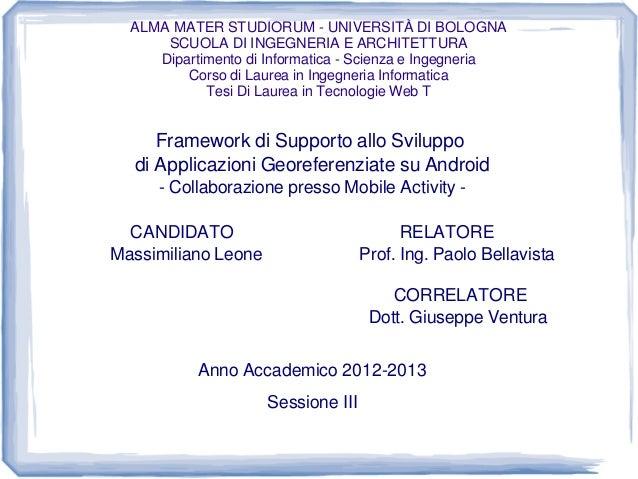 ALMA MATER STUDIORUM - UNIVERSITÀ DI BOLOGNA SCUOLA DI INGEGNERIA E ARCHITETTURA Dipartimento di Informatica - Scienza e I...