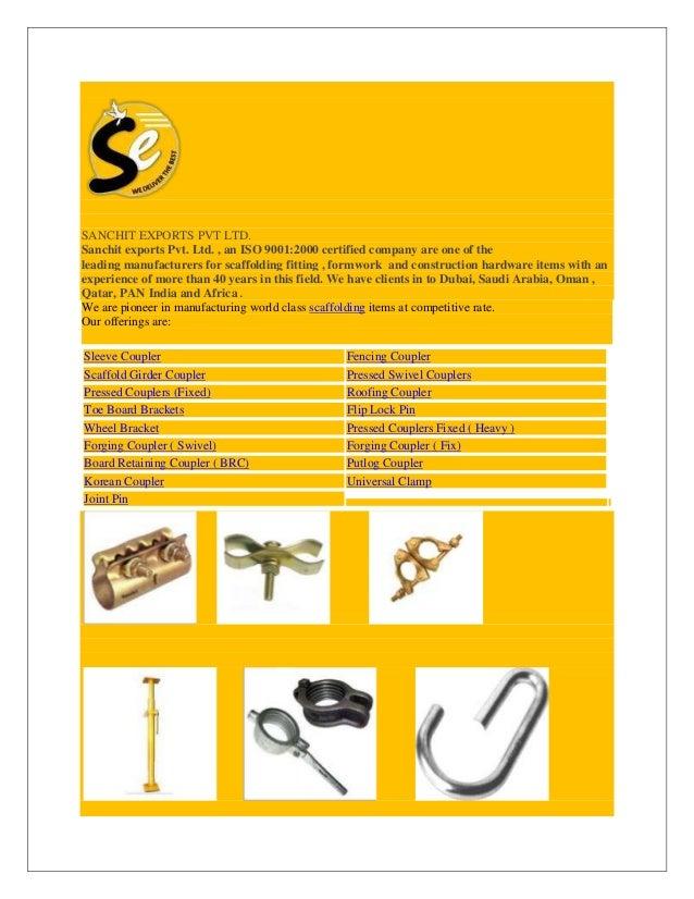 SANCHIT EXPORTS PVT LTD :MANUFACTURER & EXPORTER (SCAFFOLDING PARTS& …