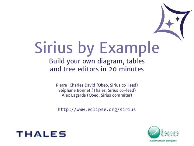 Sirius by Example Build your own diagram, tables and tree editors in 20 minutes Pierre-Charles David (Obeo, Sirius co-lead...