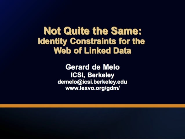 Not Quite the Same: Identity Constraints for the Web of Linked Data