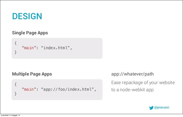 @pracucci Single Page Apps app://whatever/path DESIGN Multiple Page Apps Ease repackage of your website to a node-webkit a...