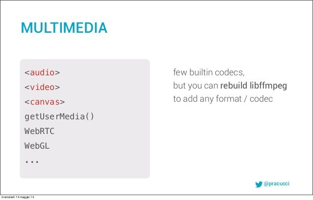 @pracucci few builtin codecs, but you can rebuild libffmpeg to add any format / codec MULTIMEDIA <audio> <video> <canvas> ...