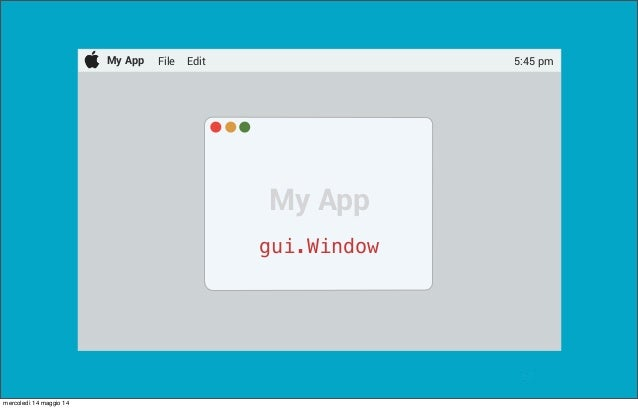 @pracucci My App File Edit 5:45 pm My App gui.Window mercoledì 14 maggio 14