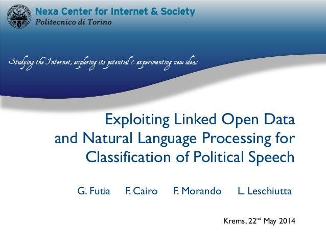 G. Futia F. Cairo F. Morando L. Leschiutta Exploiting Linked Open Data and Natural Language Processing for Classification ...