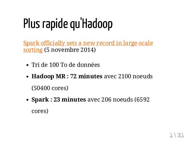 Plusrapidequ'Hadoop Spark officially sets a new record in large-scale sorting (5 novembre 2014) Tri de 100 To de données H...