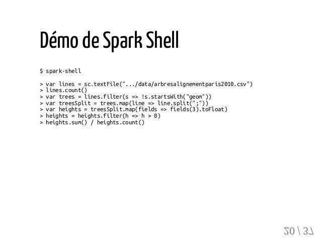 "Démo deSpark Shell $spark-shell >varlines=sc.textFile("".../data/arbresalignementparis2010.csv"") >lines.count() >vartrees=l..."