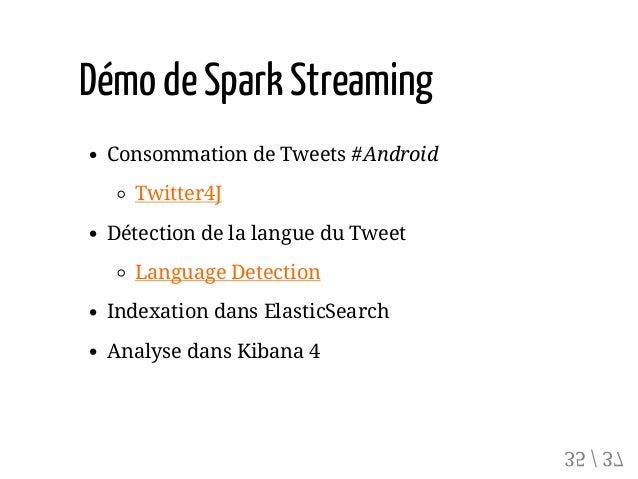 Démo deSpark Streaming Consommation de Tweets #Android Twitter4J Détection de la langue du Tweet Language Detection Indexa...