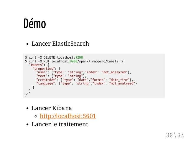 "Démo Lancer ElasticSearch $curl-XDELETElocalhost:9200 $curl-XPUTlocalhost:9200/spark/_mapping/tweets'{ ""tweets"":{ ""propert..."