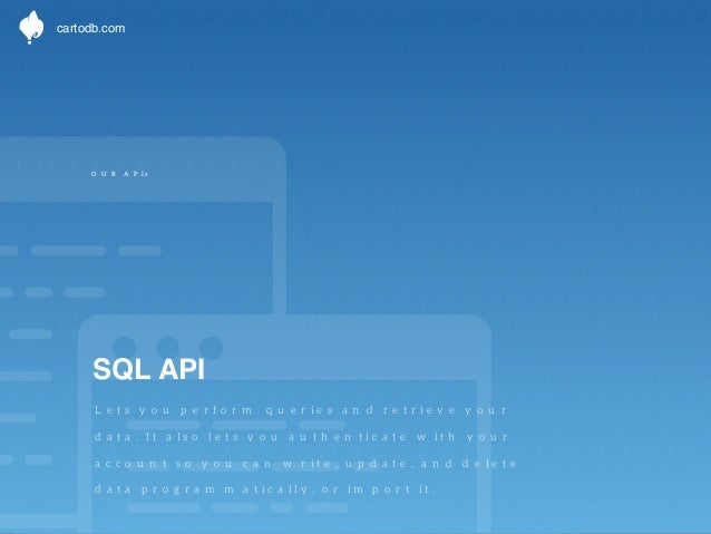 cartodb.com  OUR APIs  CartoDB.js  This Javascript library is the main tool to  extend your existing visualizations or cre...