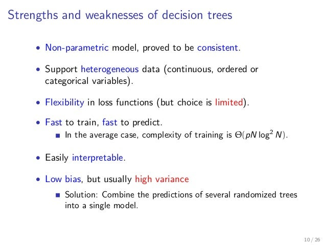 Strengths and weaknesses of decision trees • Non-parametric model, proved to be consistent. • Support heterogeneous data (...