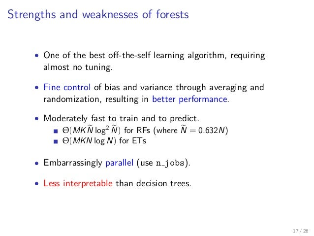 Strengths and weaknesses of forests • One of the best off-the-self learning algorithm, requiring almost no tuning. • Fine c...