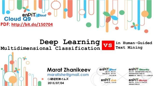 Deep Learning 2015/07/04 Marat Zhanikeev maratishe@gmail.com GI研@天神イムズ PDF: http://bit.do/150704 in Human-Guided Text Mini...