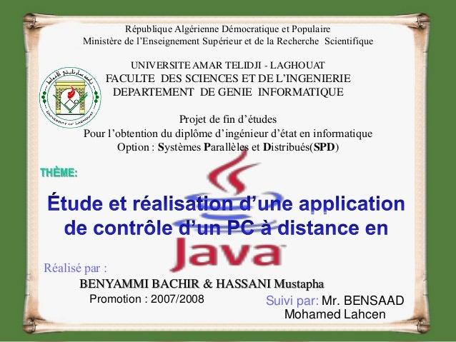 Suivi par: Mr. BENSAAD Mohamed Lahcen Réalisé par : BENYAMMI BACHIR & HASSANI Mustapha Promotion : 2007/2008 République Al...