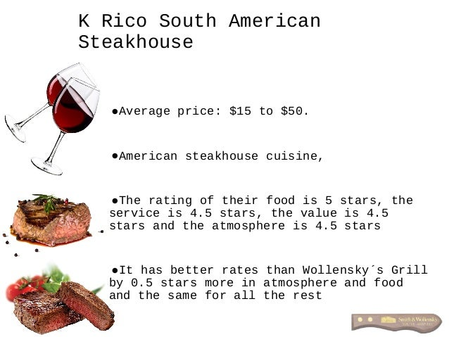 •Average price: $15 to $50. •American steakhouse cuisine, •The rating of their food is 5 stars, the service is 4.5 stars, ...