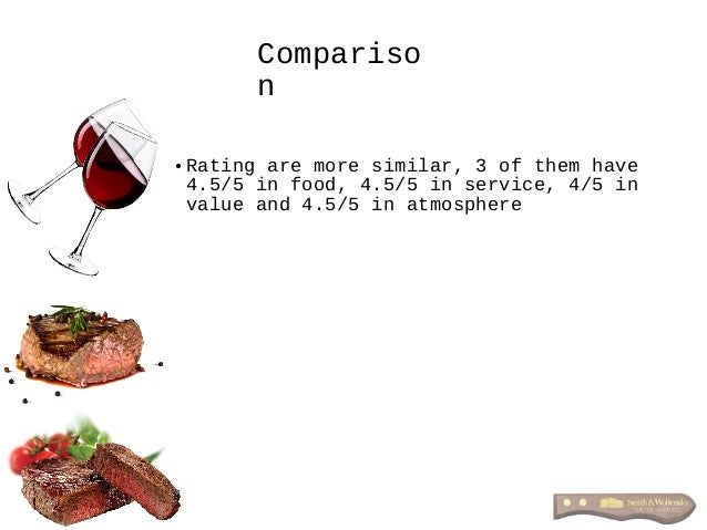 • Rating are more similar, 3 of them have 4.5/5 in food, 4.5/5 in service, 4/5 in value and 4.5/5 in atmosphere Compariso n