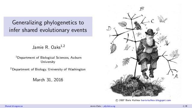 Generalizing phylogenetics to infer shared evolutionary events Jamie R. Oaks1,2 1Department of Biological Sciences, Auburn...