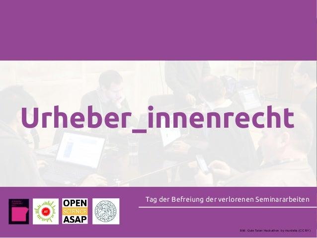 Urheber_innenrecht Tag der Befreiung der verlorenen Seminararbeiten Bild: Gute Taten Hackathon by murdelta (CC BY)