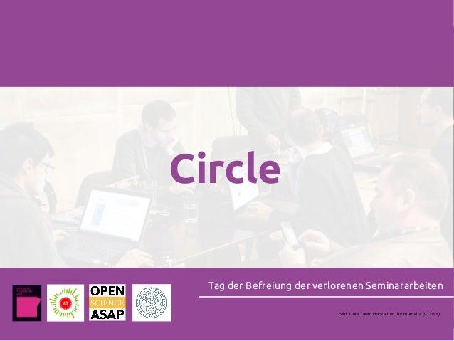 Circle Tag der Befreiung der verlorenen Seminararbeiten Bild: Gute Taten Hackathon by murdelta (CC BY)