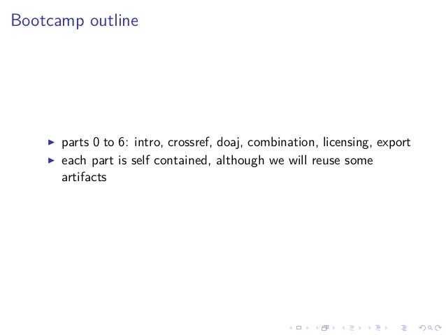 Bootcamp outline parts 0 to 6: intro, crossref, doaj, combination, licensing, export each part is self contained, although...