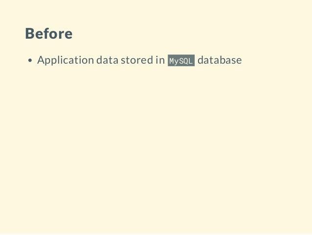 Before Application data stored in MySQL database