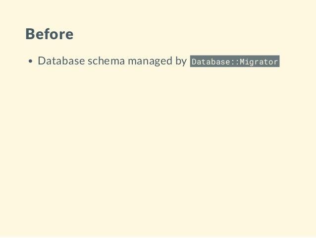 Before Database schema managed by Database::Migrator