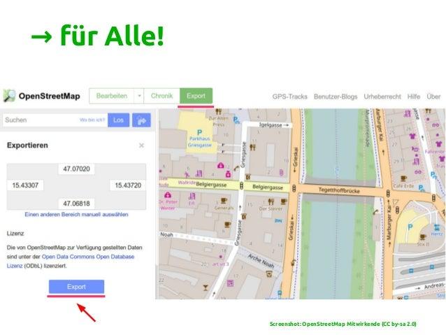 → für Alle! Screenshot: OpenStreetMap Mitwirkende (CC by-sa 2.0)