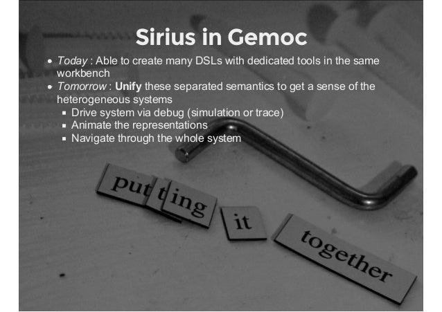 Sirius in Gemoc Today:AbletocreatemanyDSLswithdedicatedtoolsinthesame workbench Tomorrow:Unifytheseseparat...