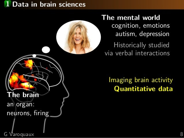 1 Data in brain sciences The mental world cognition, emotions autism, depression Historically studied via verbal interacti...