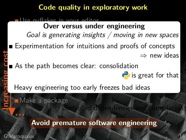 Code quality in exploratory workIncreasingcost ? Use pyflakes in your editor seriously Coding convention, good naming Versi...