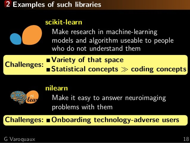 2 Examples of such libraries scikit-learn Make research in machine-learning models and algorithm useable to people who do ...